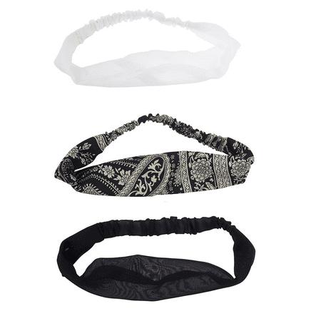 Lux Accessories Black White Paisley Print Soft Chiffon Headwrap Set
