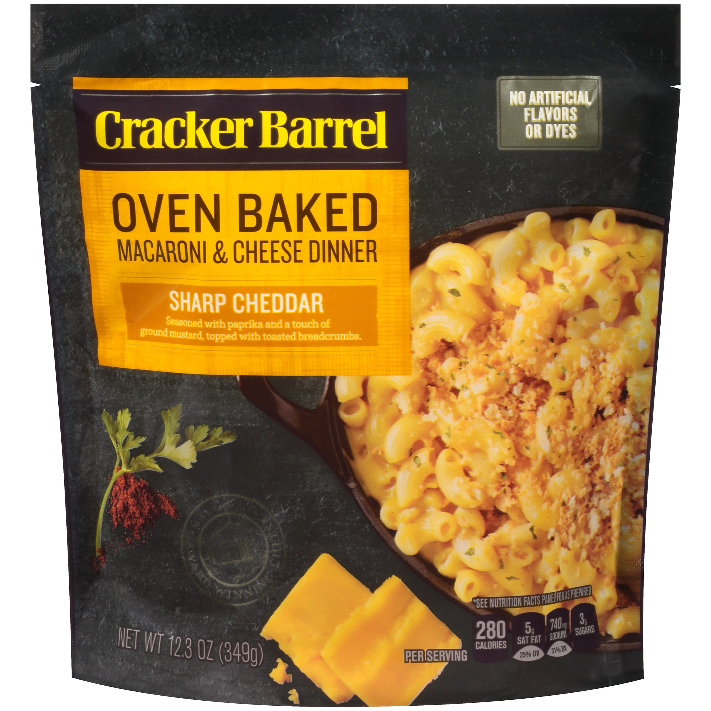 Cracker Barrel Oven Baked Sharp Cheddar Macaroni & Cheese Dinner 12.3 oz. Pouch