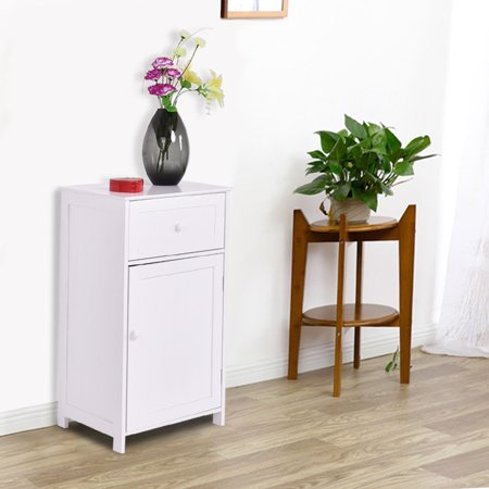 Costway White Floor Storage Cabinet Bathroom Organizer Cupboard Drawer Shelf Bath Towel