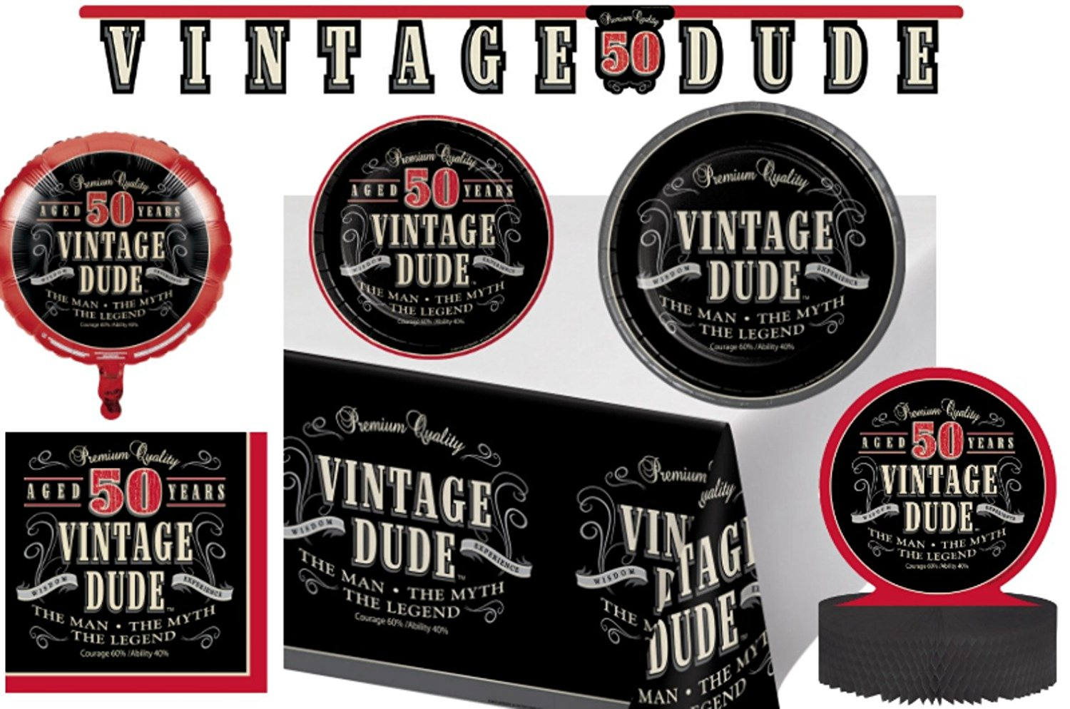 Vintage Dude 50th Birthday Party Supplies Decorations Pack Bundle