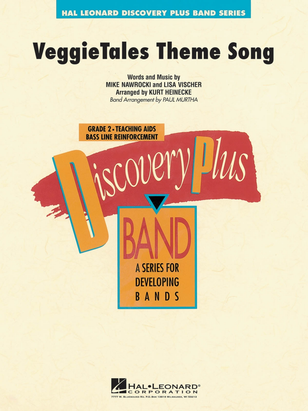 Hal Leonard VeggieTales Theme Song Discovery Plus Concert Band Series Level 2 arranged by Paul Murtha by Hal Leonard