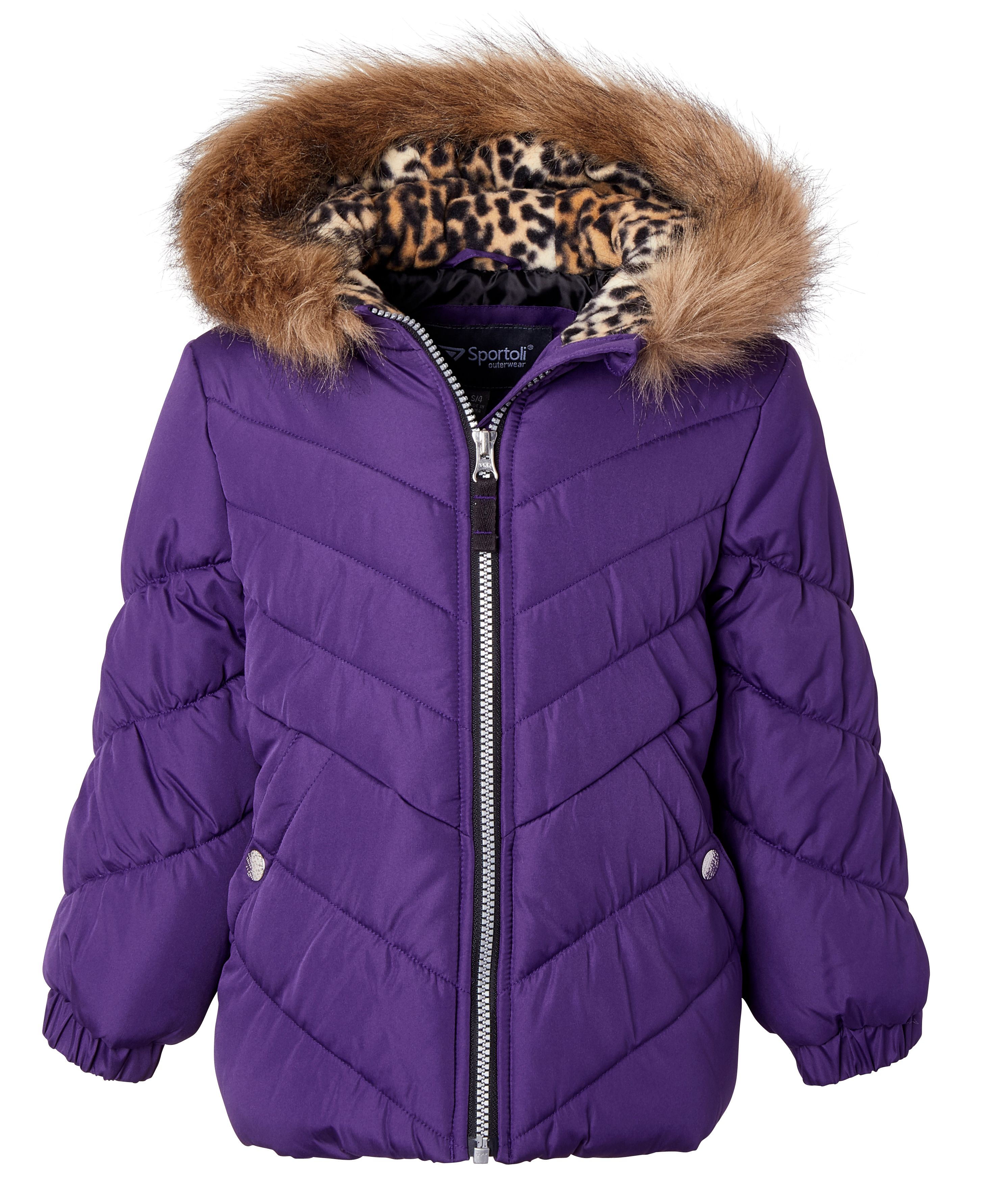 Toddler Girls 24 mo Purple Puffer Coat Jacket with Hood and Fleece Lining