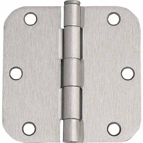 "Design House 202481 6-Hole 5/8"" Radius Door Hinge, 3.5"" x 3.5"", Satin Nickel Finish"