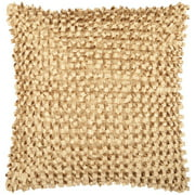 "18"" Gold Cumin Ribbon Weave Decorative Throw Pillow"