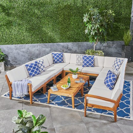 Wilcox Outdoor 12 Piece Sectional Sofa Set with Cushions, Teak, Beige