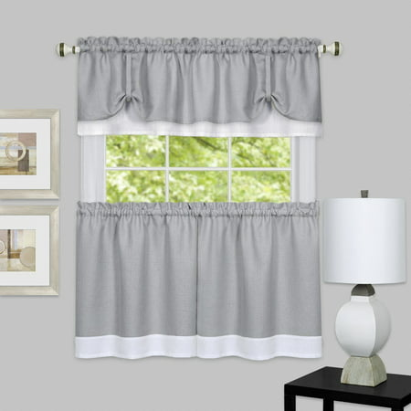 darcy 3 piece kitchen curtain tier tie up valance set grey. Black Bedroom Furniture Sets. Home Design Ideas