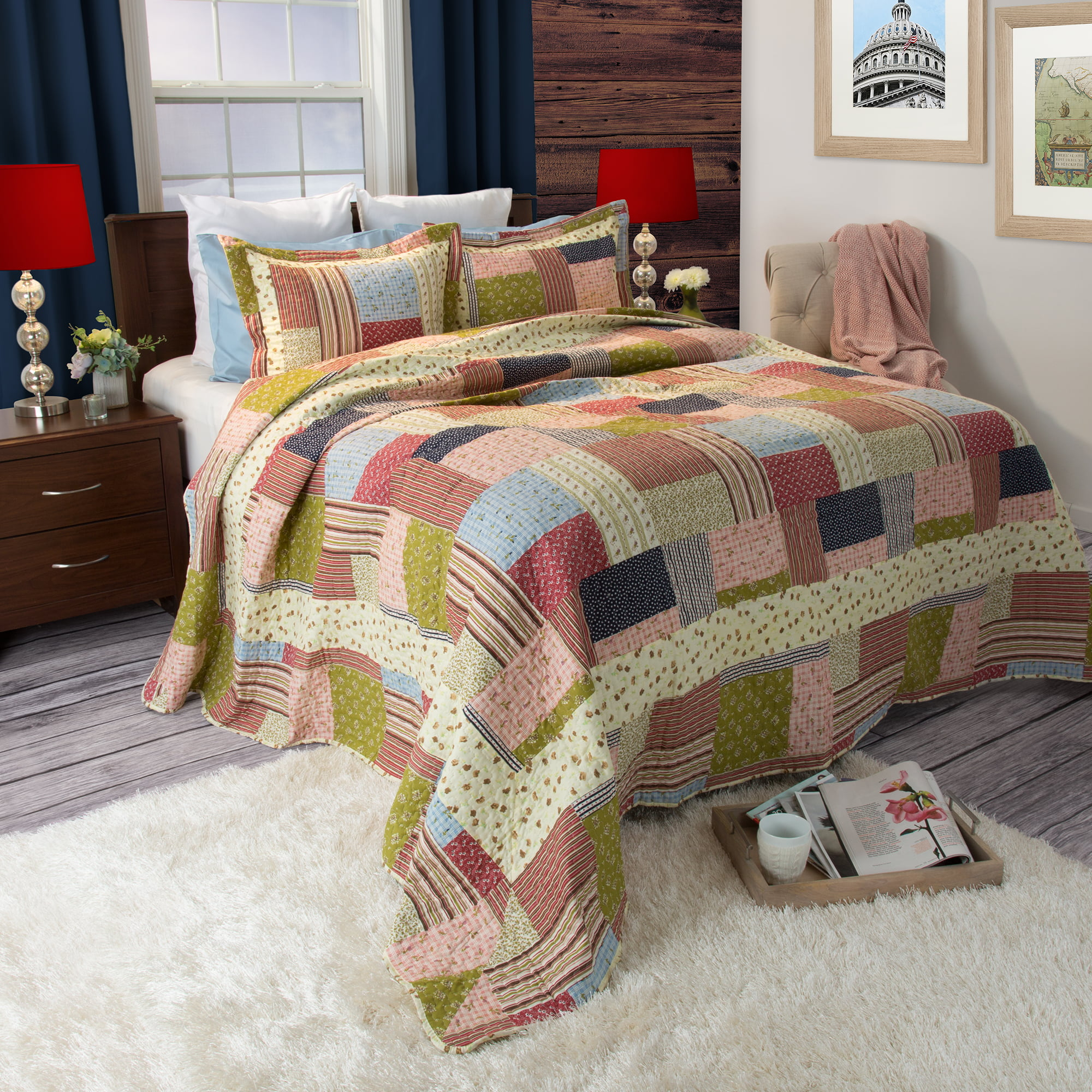 Somerset Home Printed Savannah 3 Piece Quilt Bedding Set by Trademark Global LLC