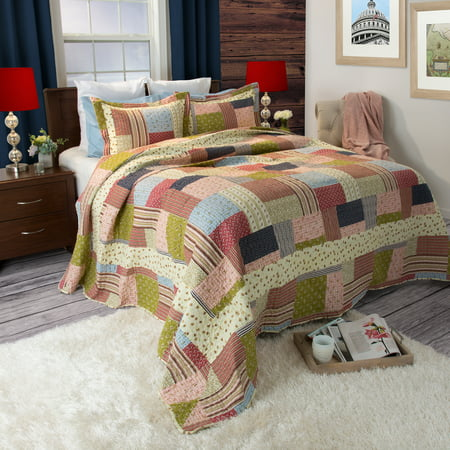 Somerset Home Printed Savannah 3 Piece Full/Queen Quilt Bedding Set