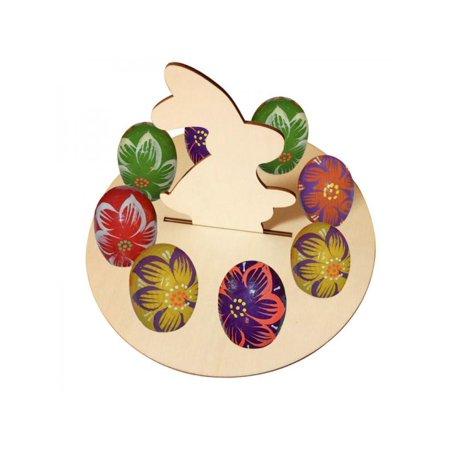 Topumt Easter Wooden Chick Rabbit Shape Eggs Frame Storage Egg Holder Home Decoration Egg Tray ()
