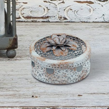 Bungalow Rose Small Floral Accent Metal Trinket Decorative Box