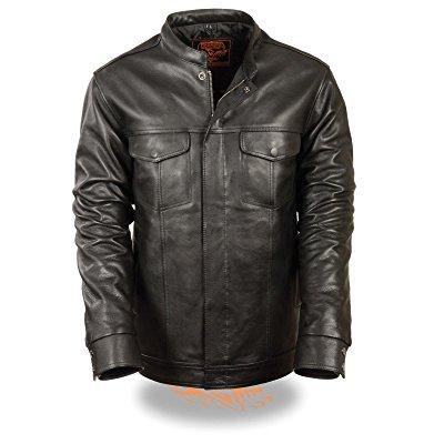 Mens Motorcycle Son Of Anarchy Club Style Leather Shirt Snap Jacket Black New  M Regular