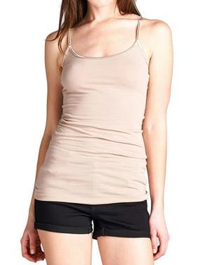 Ola Mari Junior and Plus Size Adjustable Spaghetti Strap Solid Camisole Tank Top, Heather Charcoal, 2XL