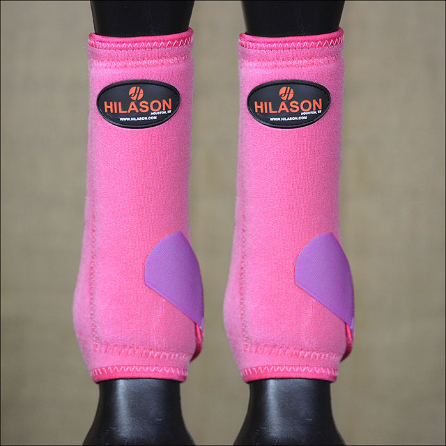 LARGE HILASON HORSE FRONT LEG PROTECTION ULTIMATE SPORTS BOOT Pink  Purple