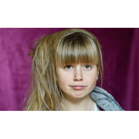 Framed Art for Your Wall Blond Face View Long Hair Child Girl Expression 10x13 - Haier Frame