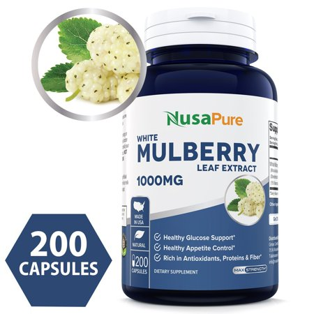 Best White Mulberry Leaf Extract 1000mg 200 Capsules (No Fillers, Non-GMO & Gluten Free) Natural High & Low Blood Sugar Control, Weight Loss Support - 100% Money Back
