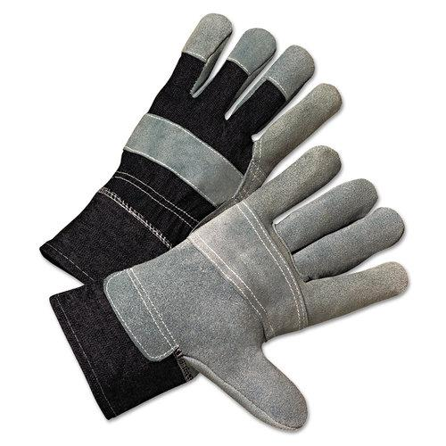 2000 Series Leather-Palm Denim-Back Gloves, 2 1/2in Cuff, Large, Sold as 12 Pair