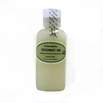 Dr. Adorable - 100% Pure Extra Virgin Coconut Oil Organic Cold Pressed Unrefined Natural Hair Skin - 4 oz (100 % Pure Shower Gel Organic Virgin Coconut)
