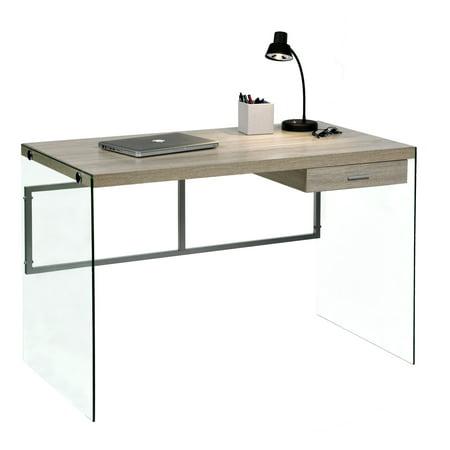 Escher Skye Computer Writing Desk Gl And Wood Light Oak