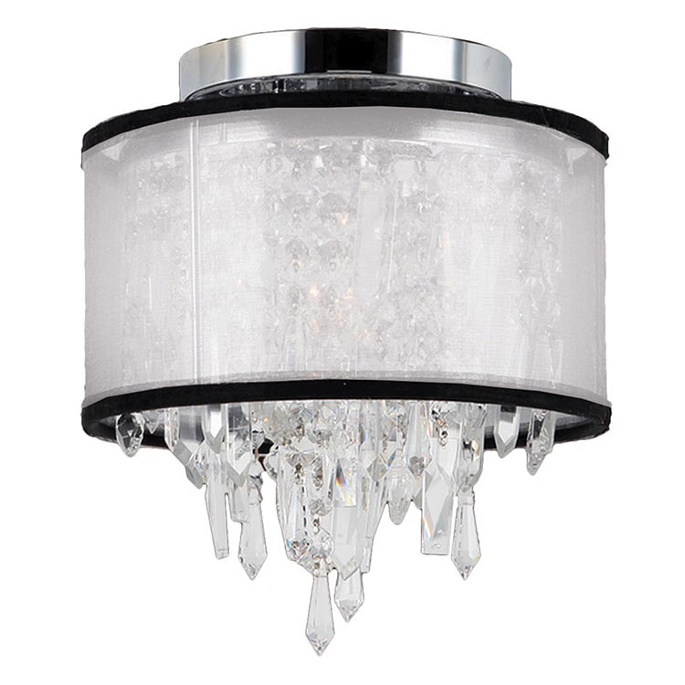 Brilliance Lighting and Chandeliers Metro Candelabra Single-light Chrome Finish and Clear Crystal 8-inch Flush Mount Ceiling Light with White Organza