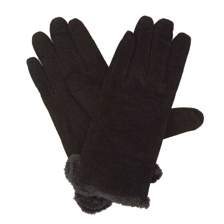 Isotoner Women's Suede Glove with Side Vent and Fur Trimmed (Isotoner Womens Suede Gloves With Gathered Wrist)