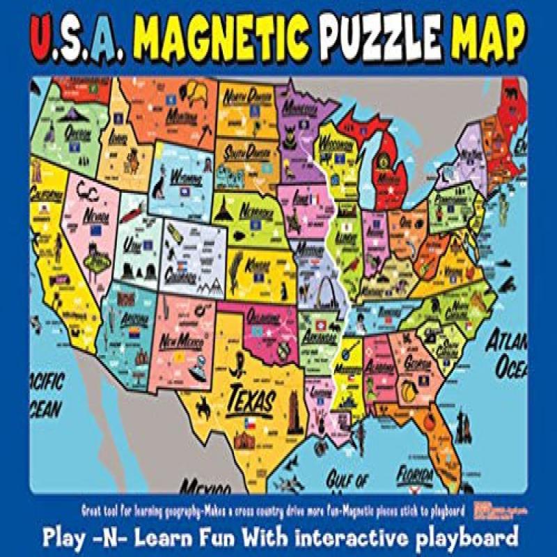 Ata Boy Magnetic Usa Map Play N Learn Puzzle Board Walmart Com