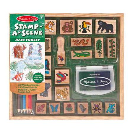 Melissa & Doug Stamp-a-Scene Stamp Set: Rain Forest - 20 Wooden Stamps, 5 Colored Pencils, and 2-Color Stamp