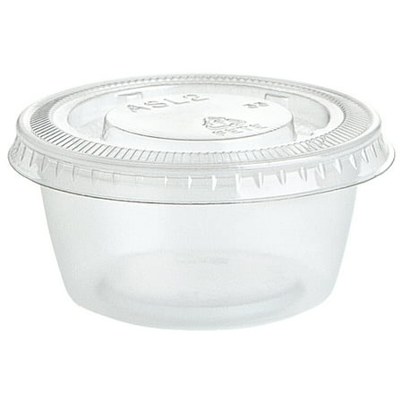 Plastic Football Cups (Clear Plastic Gelatin Shot Cups with Lids, 2oz,)