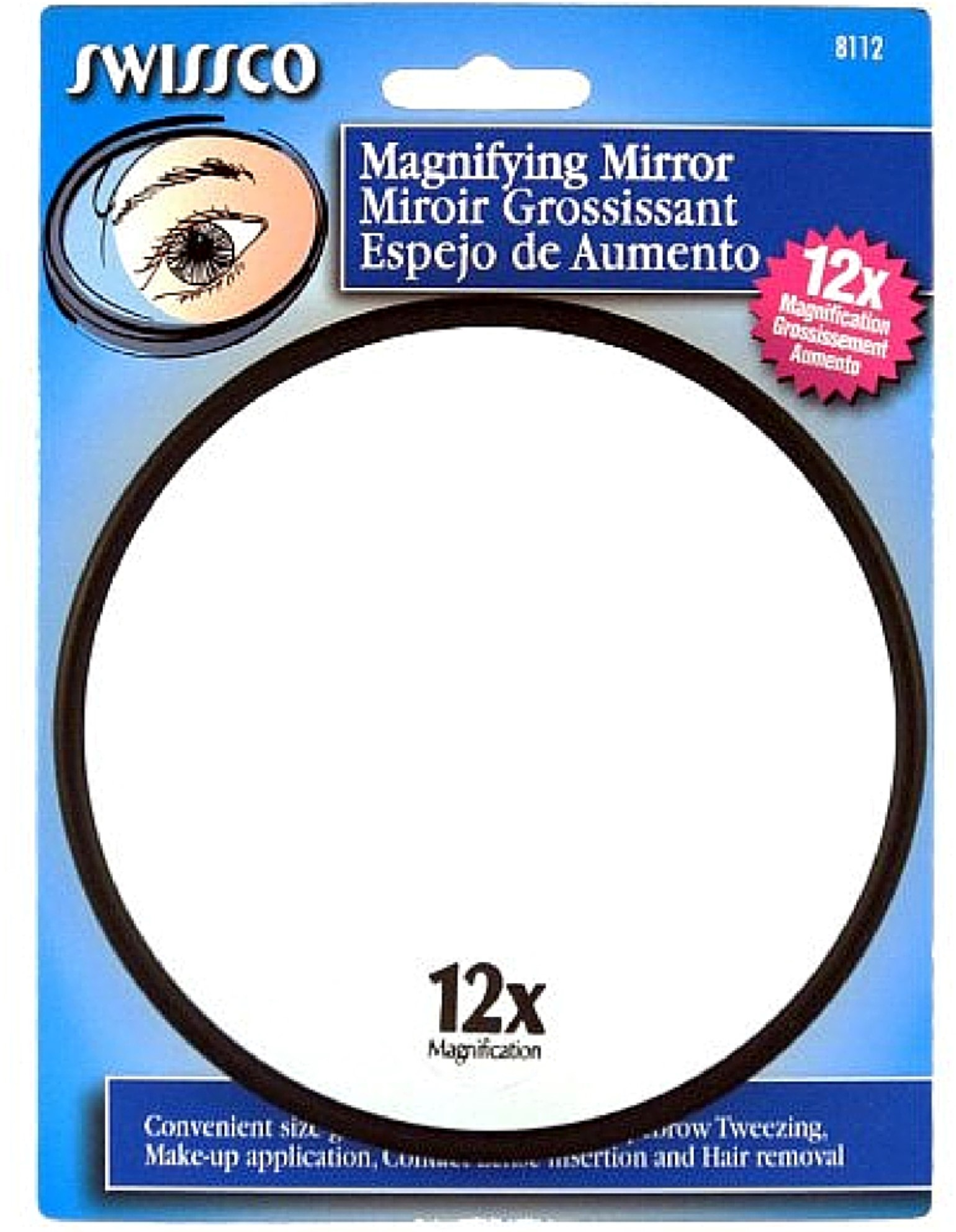 Swissco 12x Magnifying Mirror With Suction Cups 1 Ea