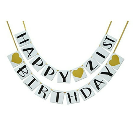 Happy 21st Birthday Banner - Gold Hearts and Ribbon - Birthday Decorations ... - Things To Do For 21st Birthday