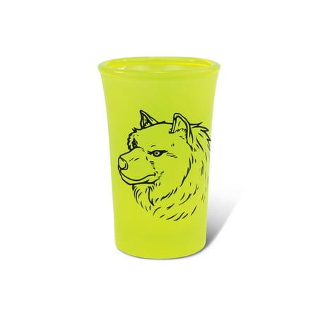 Yellow Neon Tall Shot Glass Wolf](Yellow Shots)