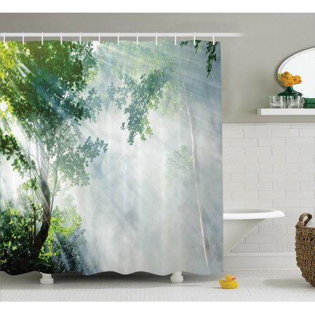 Rainshower Set (Rainforest Decorations Shower Curtain Set, Sunbeam Between Shadows Of Trees Idyllic Scenery Of Solitude In Jungle Theme, Bathroom Accessories, 69W X 70L Inches, By Ambesonne)