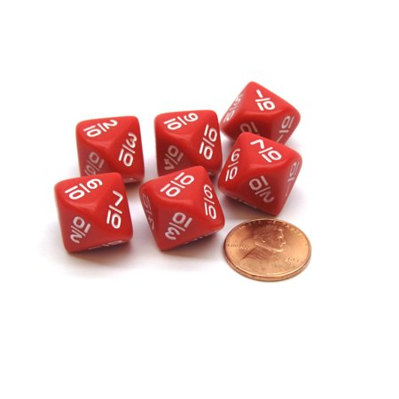 Pack of 6 10 Sided Fraction Math Dice: 1/10 to 10/10 - Red with White Numbers - Red Ball 2 Cool Math