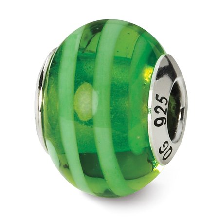 Solid 925 Sterling Silver Reflections Green Italian Murano Bead (10.9mm x 15.5mm)