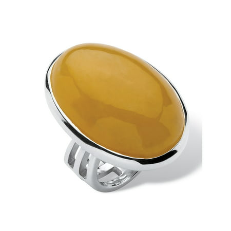 Genuine Yellow Jade .925 Sterling Silver Oval Cabochon Cocktail Ring Oval Gemstone Cocktail Ring