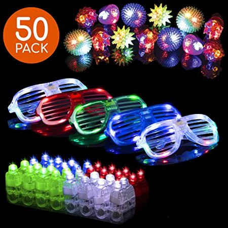 LED Glow Party Favors for Kids 50pc Light Up Glow in The Dark Party Supplies, 32 Finger Lights, 13 Glow Rings, 5 LED Glasses, Bu - Glow In Dark Light