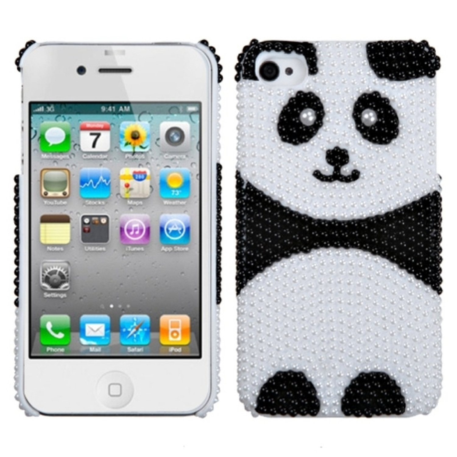 Insten iPhone 4S/4 Playful Panda Pearl Diamante Back Case For iPhone 4/4S