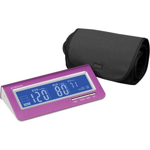 Brushed Aluminum Deluxe Arm Digital Blood Pressure Monitor, Pink