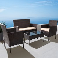 Walnew 4-Pieces Outdoor Patio Furniture Sets (Brown and Beige)