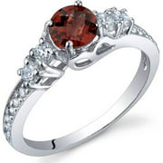 0.5 ct Round Red Garnet and Cubic Zirconia Accent Ring in Sterling Silver