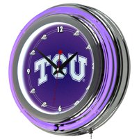 Texas Christian University Chrome Double Rung Neon Clock