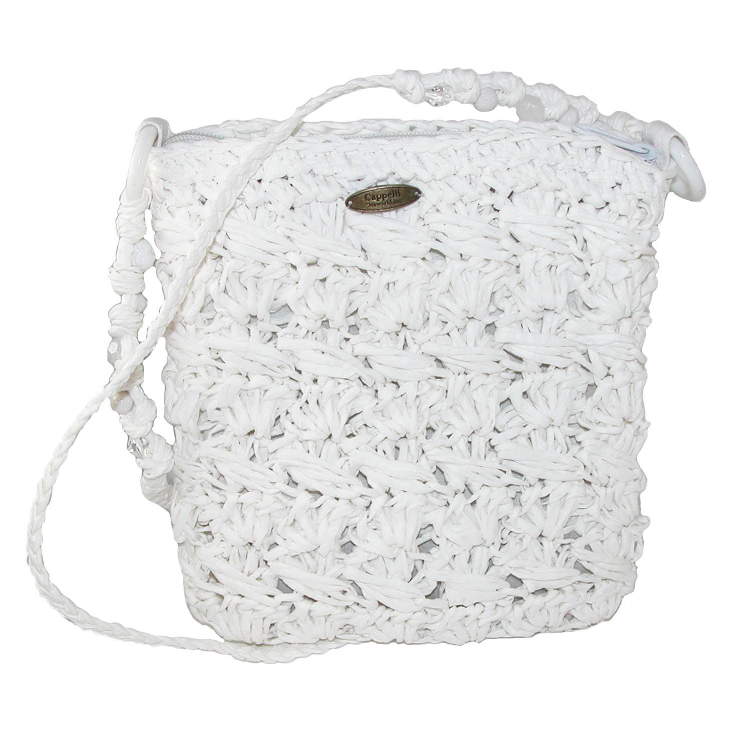 Cappelli  Womens Crocheted Crossbody Handbag with Beaded Strap,