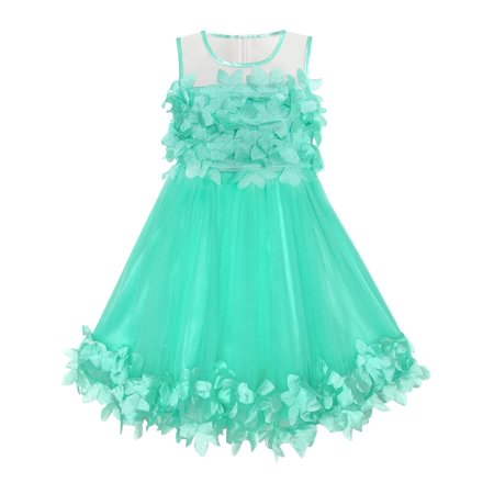 Girls Dress Turquoise Dimensional Flower Birthday Wedding Dress 4