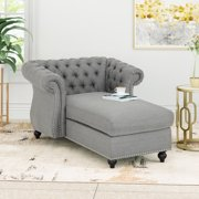 Phyllis Modern Glam Chesterfield Chaise Lounge, Dark Gray and Dark Brown