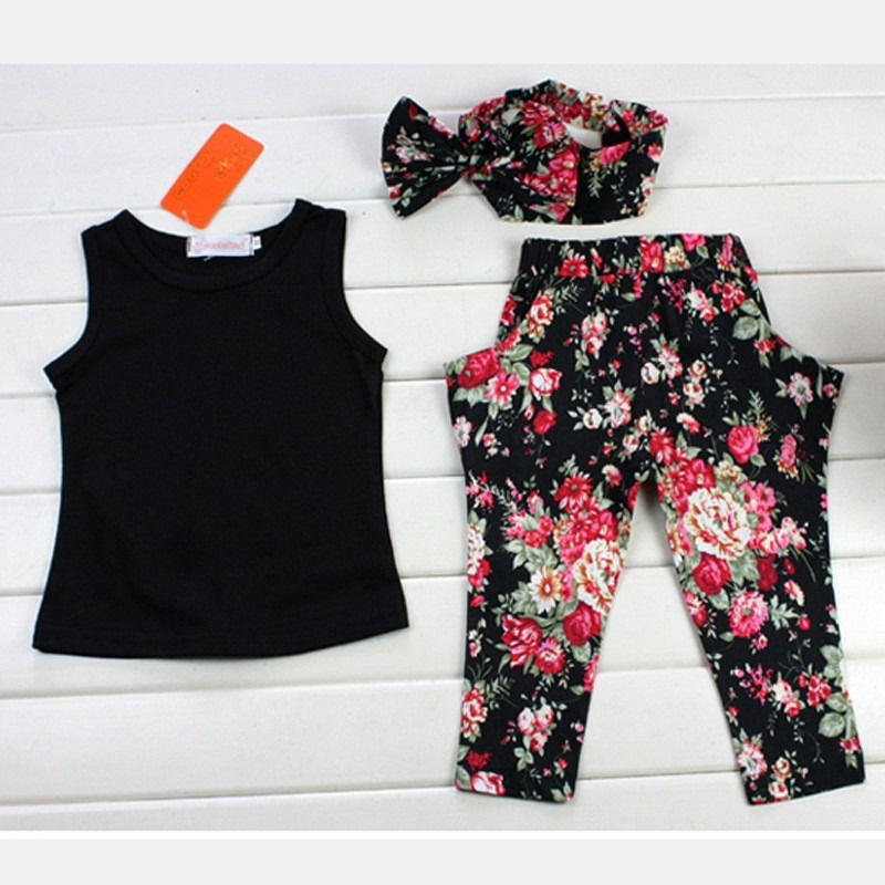 Fashion Baby Kids Girls Outfits Headband T-shirt Floral Pants Tops Clothes Set