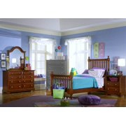 Youth Slat Poster Bed w Nightstand & Dresser Set in Cherry Finish (Twin)