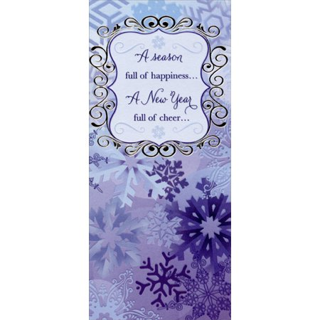 Designer Greetings Blue Snowflakes: Season of Happiness - Christmas Money / Gift Card Holder Wedding Money Card Holder