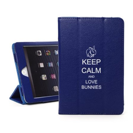 For Apple iPad Mini 4 Blue Leather Magnetic Smart Case Cover Keep Calm and Love Bunnies (Bunny Case Ipod 4)