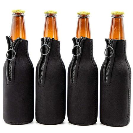 Juvale 4-Pack Beer Bottle Coolers Insulated Sleeve with Zipper (Black) - Halloween Beer Bottle Koozies