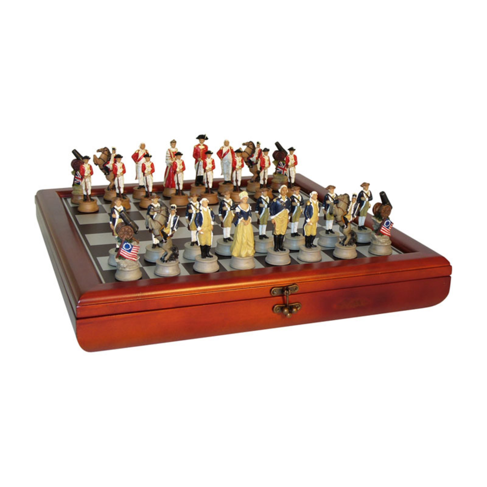 American Revolution Painted Resin Chess Set by World Wise Imports