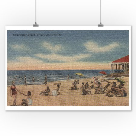 Clearwater  Florida   View Of Clearwater Beach  9X12 Art Print  Wall Decor Travel Poster
